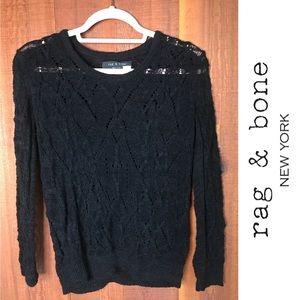 Rag & Bone Cotton Blend Black Sweater